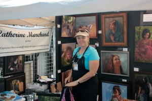 Catherine Marchard uses cards, prints and canvas reproductions.