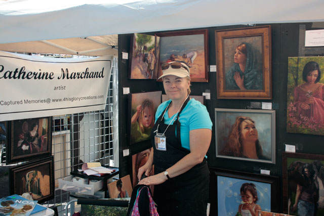 Catherine Marchard uses cards, prints and canvas reproductions, at 2011 Art Walk