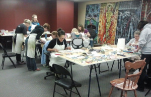 Erin leading a mosaic workshop in the upper multi-purpose room