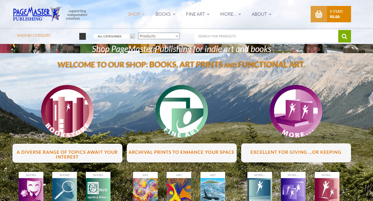 PageMaster Publishing shop page