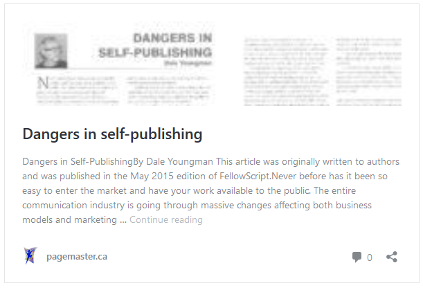 Dangers in Self-Publishing by Dale Youngman
