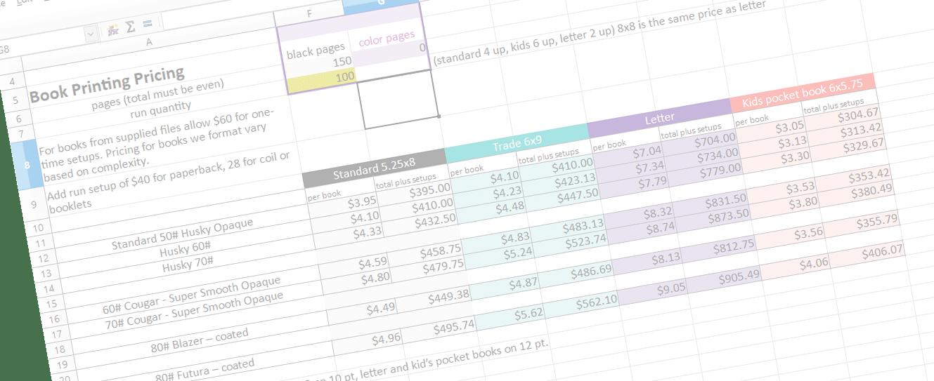 book estimate spreadsheet