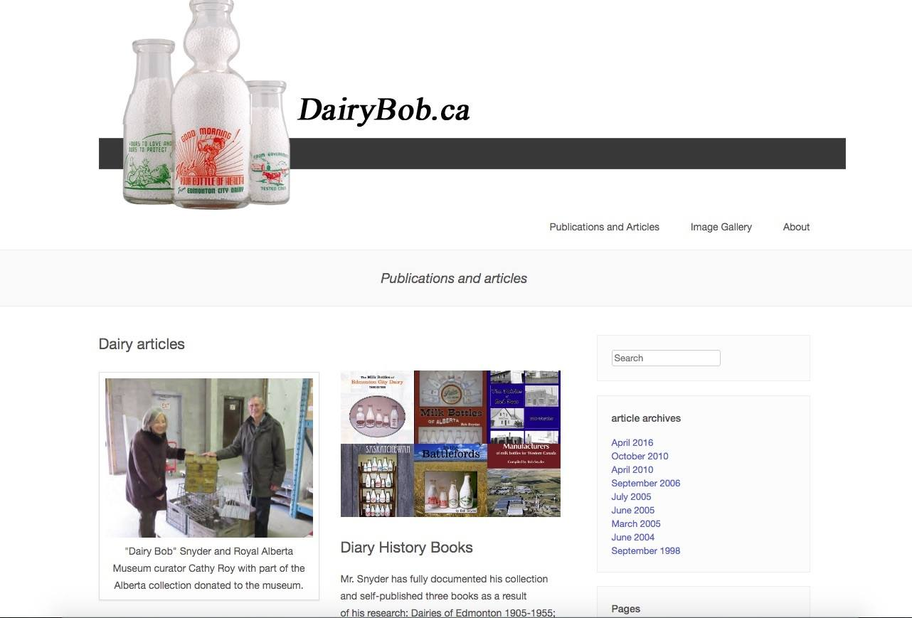 Preview of Dairy Bob's website  dairybob.ca on publication page