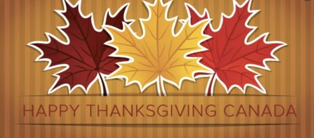 Orange background with Canadian Maple Leafs saying Happy Thanksgiving Canada