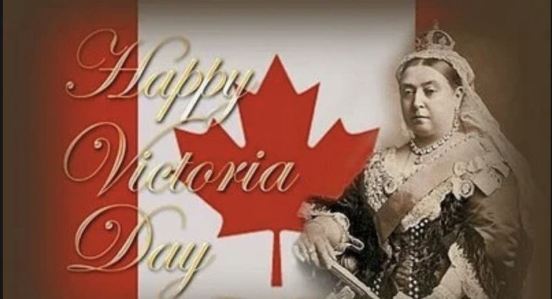 Queen Victoria in front the Canadian flag to celebrate Victoria Day holiday