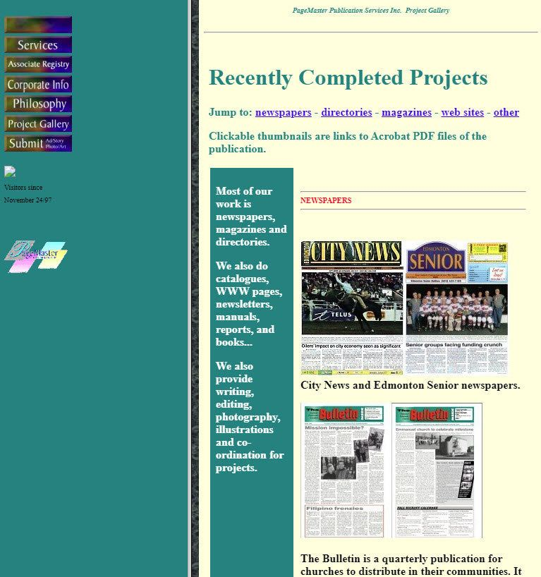 PageMaster's first web site back in 1997