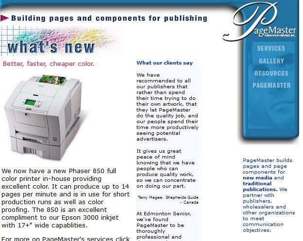 PageMaster.ca in 2000