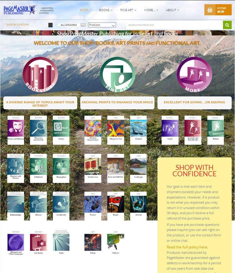 PageMaster Publishing shop categories