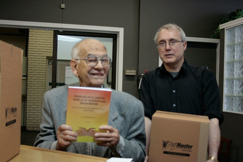 Stan picking up his book in 2012