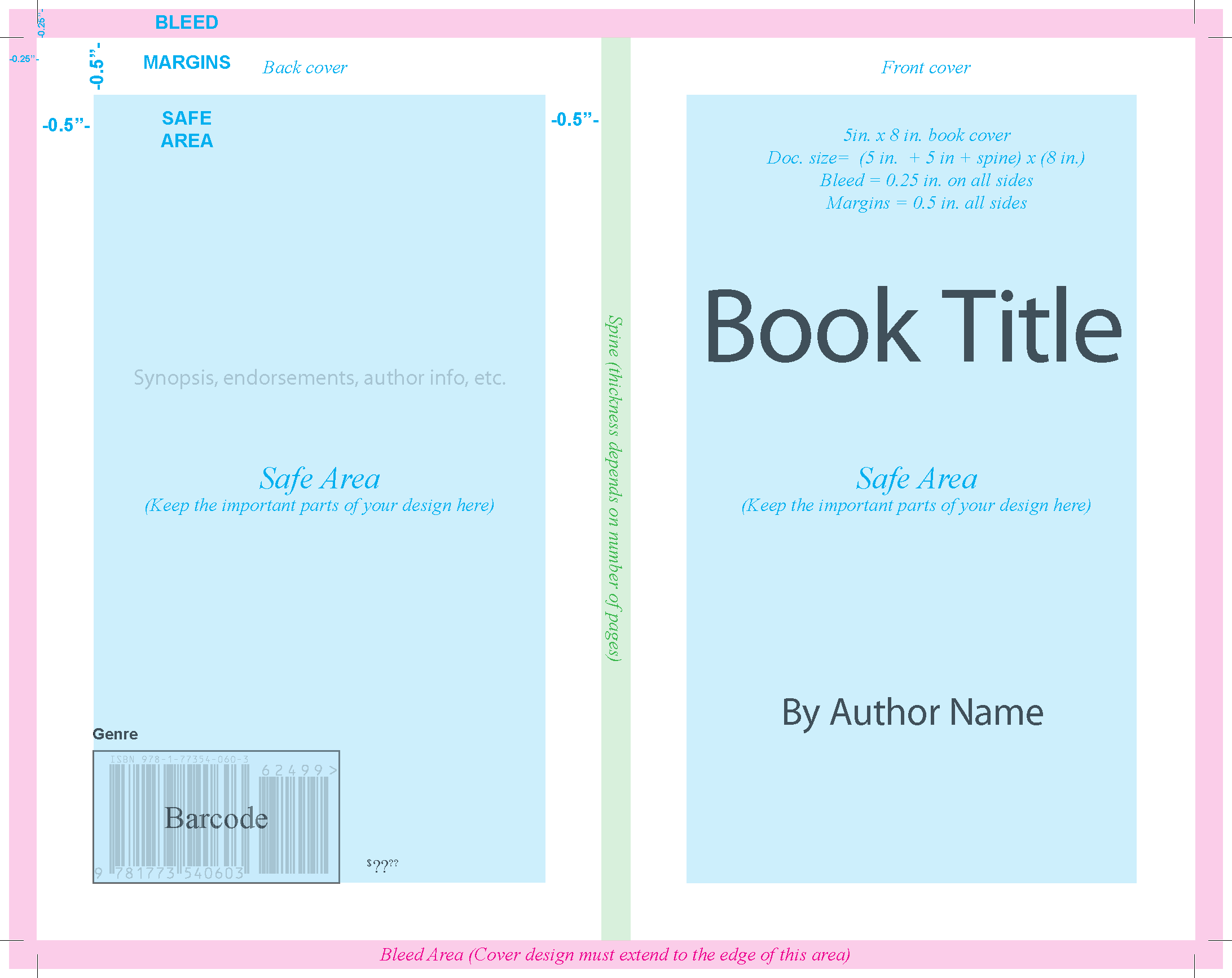 book cover template showing margins and bleed allowance.